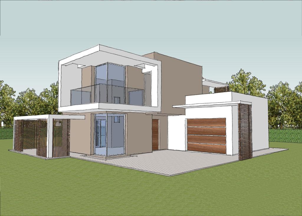 Villa bifamiliare integrata studio progettazione area 52 for Villa moderna progetto